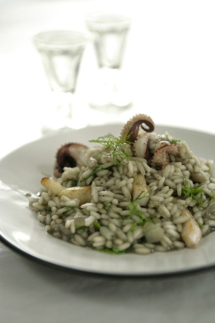 squid ink risotto with mastiha