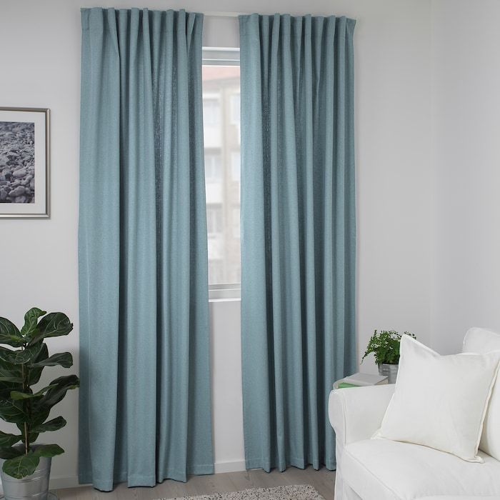Tibast Curtains 1 Pair Blue 57x98 Ikea In 2020 Blue Curtains Living Room Light Blue Curtains Long Curtains Bedroom