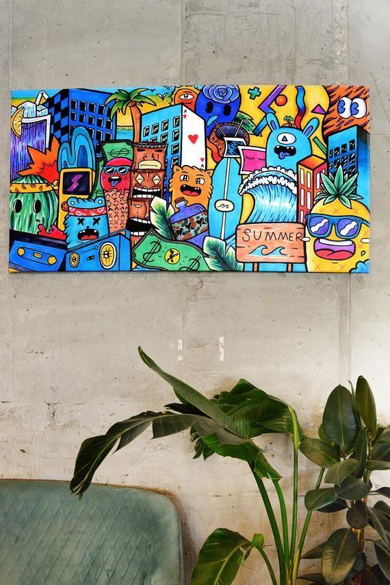Pop Art Canvas Colorful Wall Art Extra Large Wall Art Graffiti