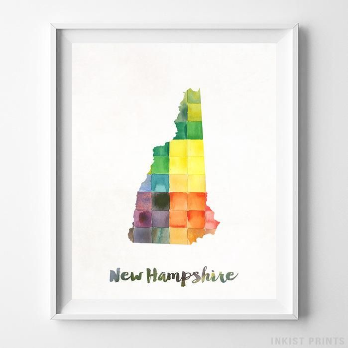 New Hampshire USA Watercolor Map Print. Prices from $9.95. Available at InkistPrints.com - #map #watercolor #babyart #poster #wallart #NewHampshire