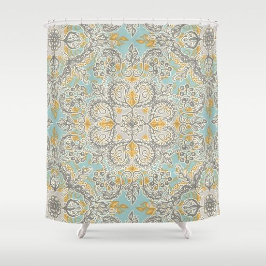 $68. Buy Shower Curtains featuring Gypsy Floral in Soft Neutrals, Grey & Yellow on Sage by micklyn. Made from 100% easy care polyester our designer shower curtains are printed in the USA and feature a 12 button-hole top for simple hanging.