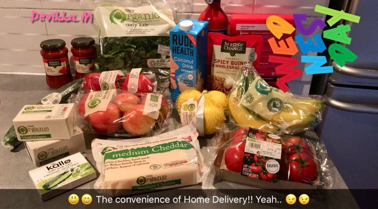 When you don't drive & the weather isn't very helpful & your nearby express stores don't stock the things you want.. #HomeDelivery to the rescue! 😅😅 #Tesco #delivery #TescoDelivery #Organic #food #convenience #home #kitchen #convenient #happy #mood #CleanEating