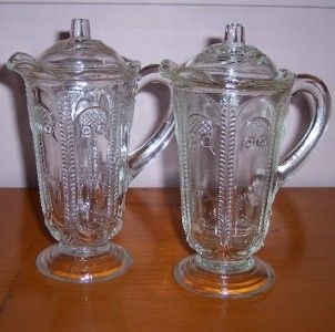 2 Crown Crystal Depression Glass Syrup Mint Sauce Jugs