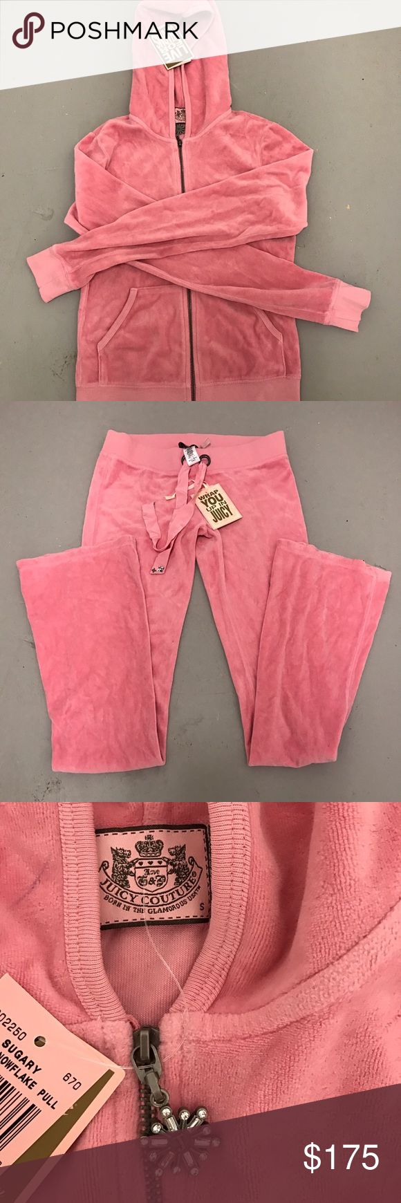 Juicy Couture complete jumpsuit size small Juicy Couture tracksuit size small. Light-medium pink. New with tags. Zipper has jeweled embellishment. Juicy Couture Pants Jumpsuits & Rompers