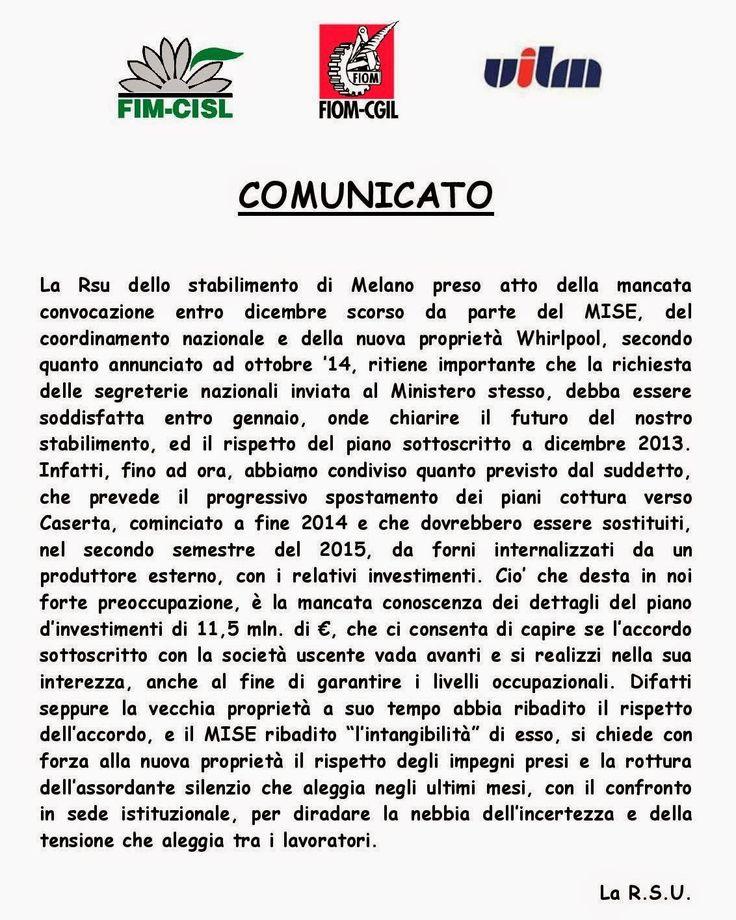 FIM CISL  INDESIT COMPANY MELANO: COMUNICATO UNITARIO DELLA RSU DELLO STABILIMENTO D...