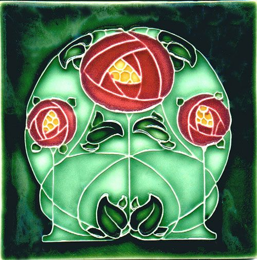 Historic Tiles - Moulded Art Nouveau Tiles - Mackintosh Rose Red