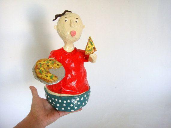papier mache pizza boy.  by papiera