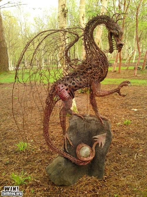 Dragon SculptureWINMetals Sculpture, Gardens Sculpture, Lawns Ornaments, Sculpture Gardens, Dragons Art, Front Yards, Metals Art, Dragons Sculpture, Gardens Art