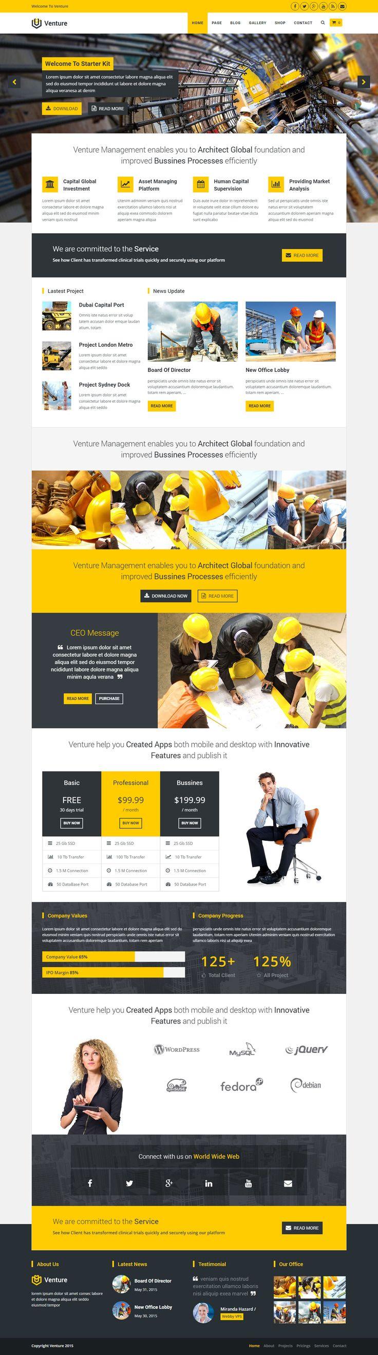 Ventureis fit for corporate, business, marketing, finance, law, construction, government, education, non profit and enterprise, bank, institution