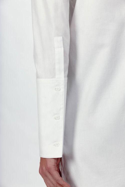 exaggerated super long cuff white shirt high detail fashion design