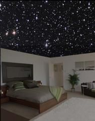 When the lights are on, or in daylight, it looks like a normal ceiling, but at night, their special paint shows an accurate night sky!  I love it!