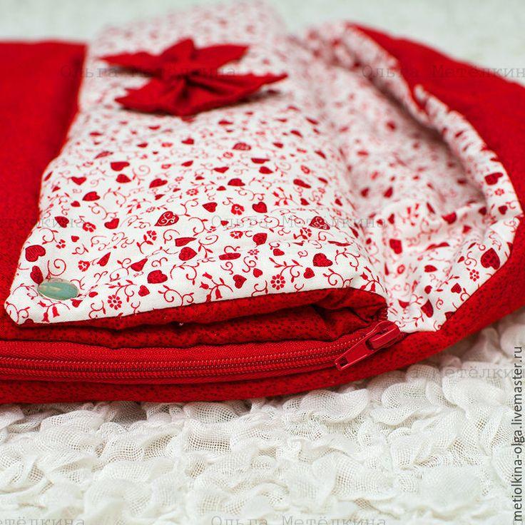 Купить РАСПРОДАЖА! Весенний летний конверт с шапкой на выписку и для прогулок - ярко-красный, конверт
