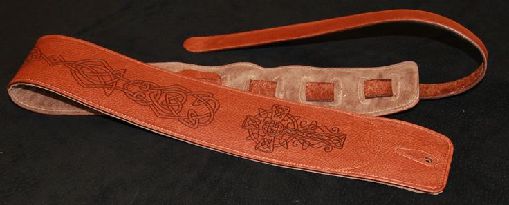 Celtic Cross and Knot Guitar Strap - Light Brown.