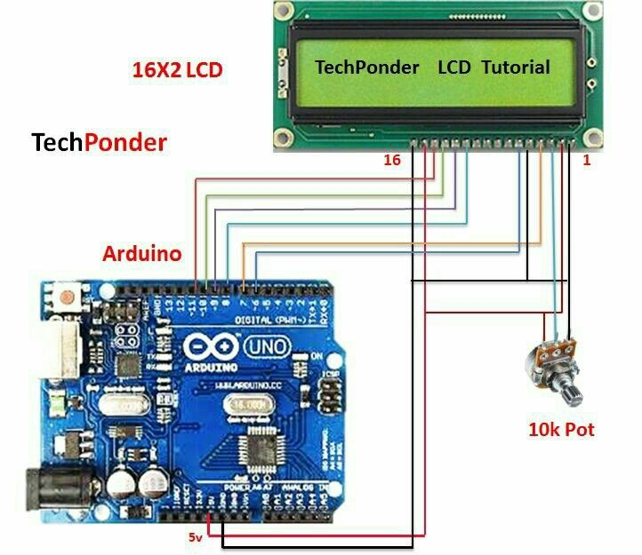 16x2 LCD with arduino | Arduino | Arduino, Arduino projects, Arduino