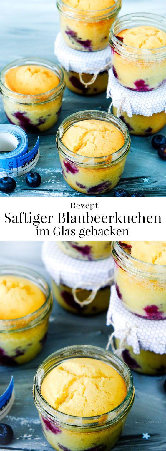Rezept: Saftiger Blaubeerkuchen im Glas gebacken | waseigenes.com #Blaubeerkuchen #schneller #saftiger #imGlas #KuchenimGlas #Heidelbeere