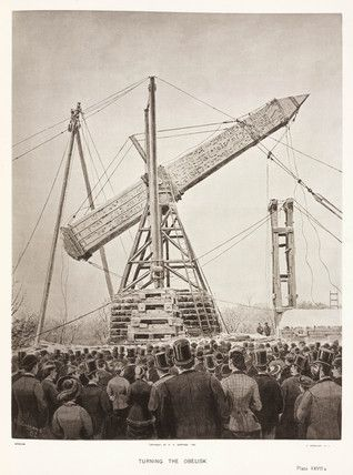 'Turning the Obelisk', New York , c.1882.  The transport of the Obelisk from Egypt to New York, was financed by NYC's Gilded Age railroad magnet, William H. Vanderbilt. The cost of the relocation was $103.000, via ship from Egypt. The Egyptian Obelisk was erected in Central Park, January 22nd, c.1881. It is still standing there today. {cwl}
