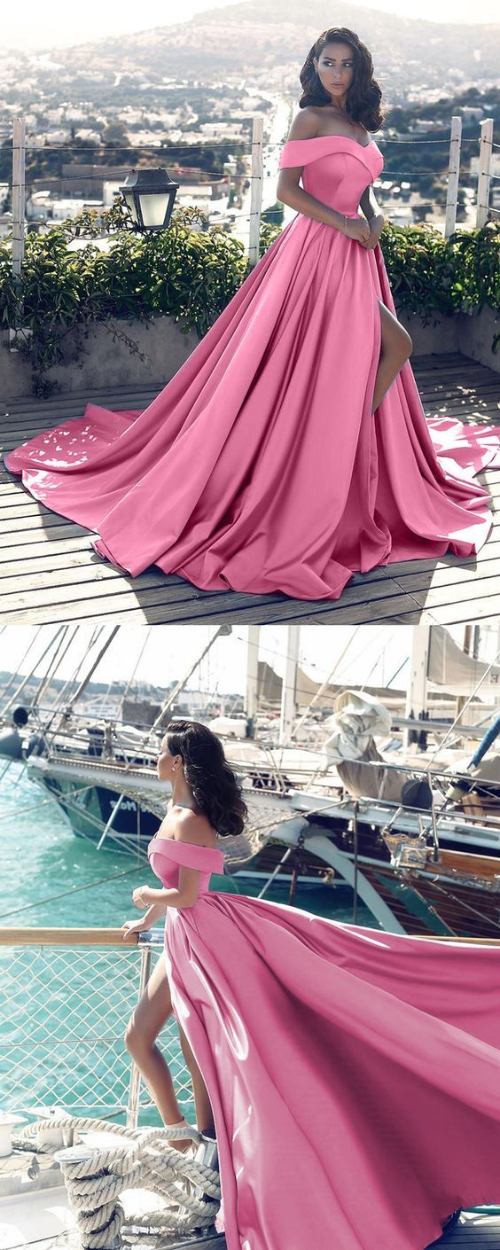 unique pink off the shoulder prom dresses with pockets, simple court train satin party dresses with pleats, elegant evening gowns with high slit