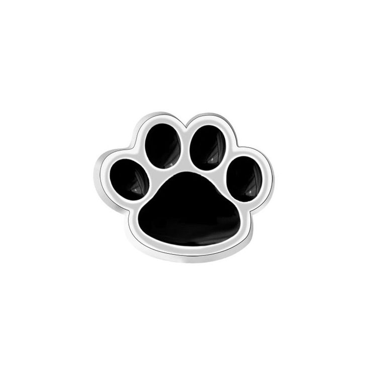 Jewelry Floating Memory Living Locket Silver P Black Enamel Dog Paw Charms