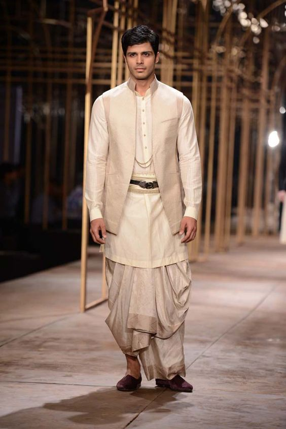 How about something more traditional for them grooms - this subtle and simple dhoti kurta speaks volumes on tradition :) #IndianWedding #outfit #ideas for the #groom | Curated by #WittyVows - The ultimate guide for the Indian Bride | www.wittyvows.com