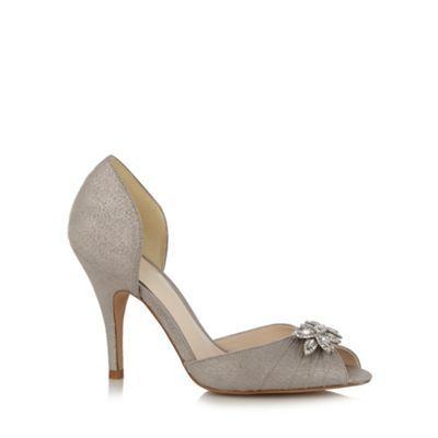 No. 1 Jenny Packham Designer silver diamante leaf high court shoes- at Debenhams.com