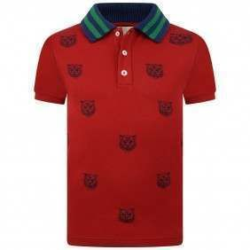 d744429c GUCCI Boys Red Tiger Print Polo Top | Mom to be kid gifts | Designer ...