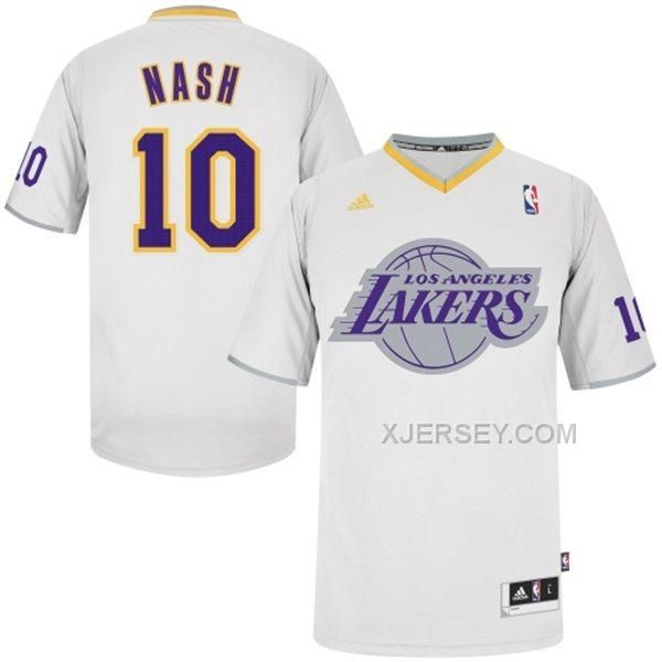 """f3d529901 ... Los Angeles Lakers 10 Unveil Steve Nash Weiße Trikot The NBA today  officially unveiled their chrome """"BIG Logo"""" sleeved Christmas jerseys ."""