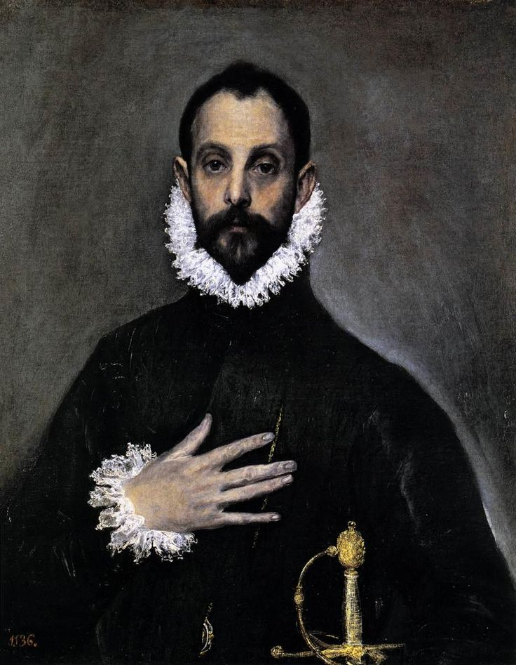"El Greco, ""Nobleman with his Hand on his Chest"". Possible self-portrait of El Greco. 1583-85  Museo del Prado, Madrid"
