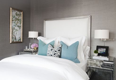 Yummy grasscloth wallpaper and mirrored nightstands. Love!: Grey Bedrooms, Guest Bedrooms, Spare Bedrooms, White Beds, Grey Wall, Blue Bedrooms, Master Bedrooms, Upholstered Headboards, Jordans Carlyle