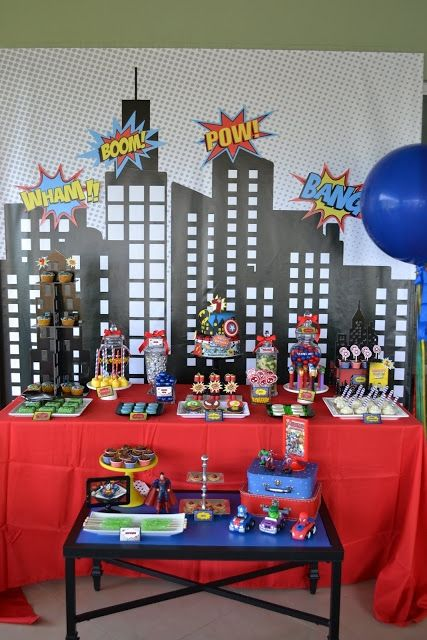 Boy's Superhero Birthday Party Dessert Table