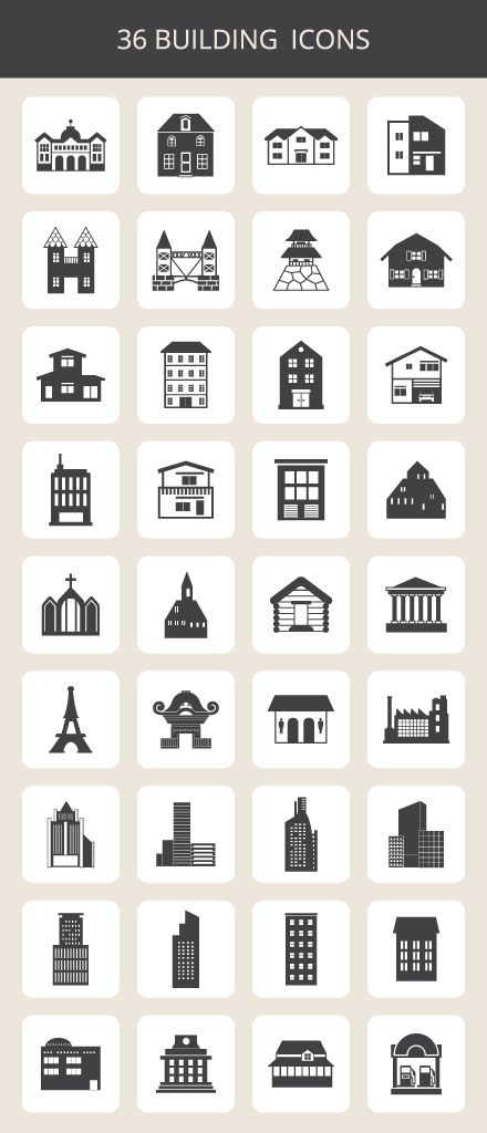 building-icon-set