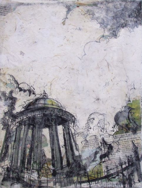 St Bernard's Well, Water of Leith Collage with Monoprint and Wax, 2014 SOLD