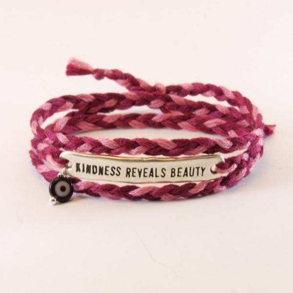 "ID charm bracelet ""kindness reveals beauty""  with evil eye and  braided cotton thread http://www.jamjar.gr/product/5302/id-charm-bracelet"