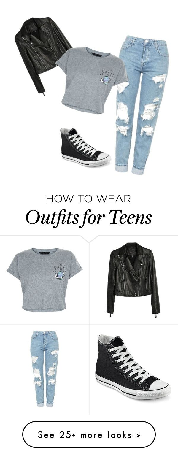 """My First Polyvore Outfit"" by gordaxmorsa on Polyvore featuring Topshop, Converse, Paige Denim and New Look"