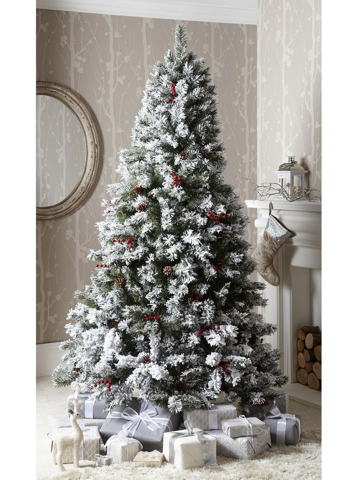 bavarian pine christmas tree with snow 7ft. Black Bedroom Furniture Sets. Home Design Ideas