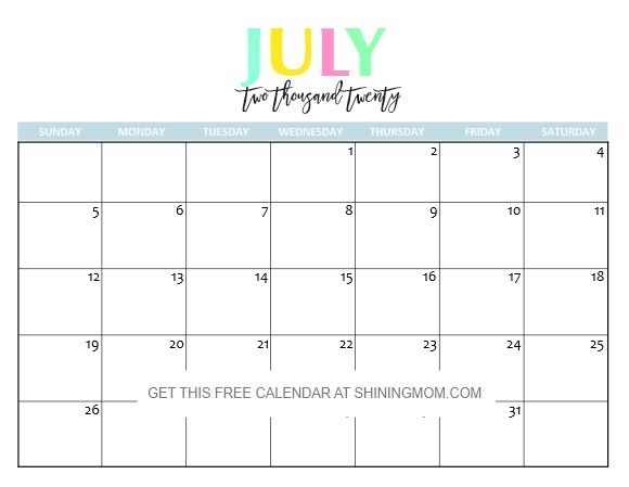 Printable Calendar July 2020
