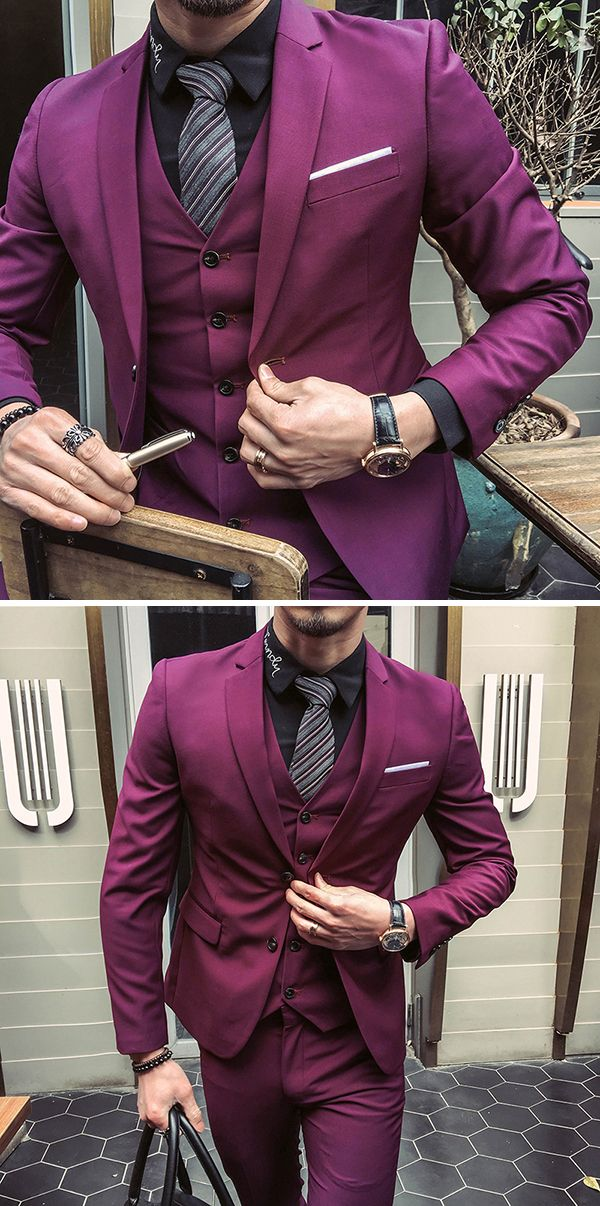 US$123.66 (48% OFF) Three Pieces Solid Color Slim Fit Blazer Suit for Men