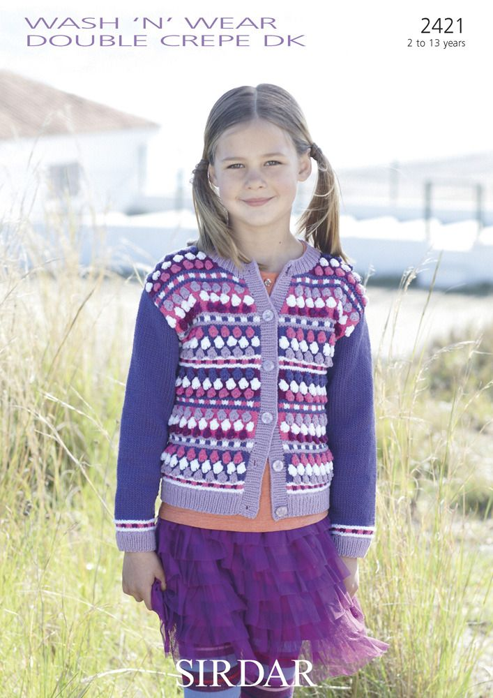 Multi Coloured Cardigan in Sirdar Wash 'n' Wear Double Crepe DK - 2421