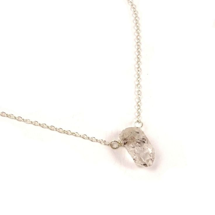 Raw Herkimer Diamond Necklace // Minimalist Clear Crystal April Birthstone Jewelry for Layering // Female Gift for Best Friend