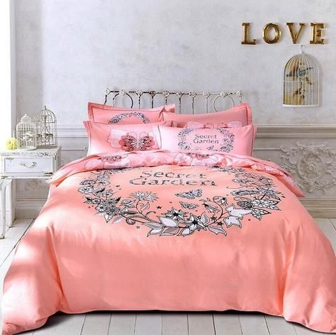 New Autumn Winter Sanding Bedding Set Geometric Pink New York Cotton Duvet Cover Bed Sheet Set Bedclothes Queen King Bed Linen