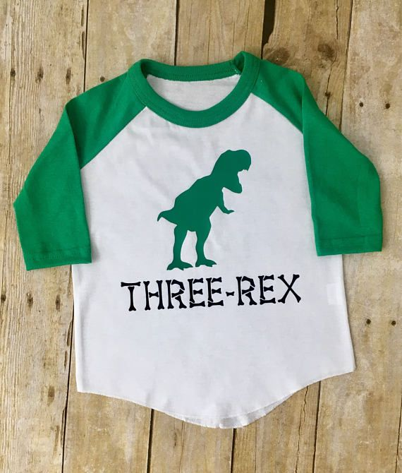 Three Rex Shirt For 3 Year Old Custom Birthday Dinosaur Party In 2019