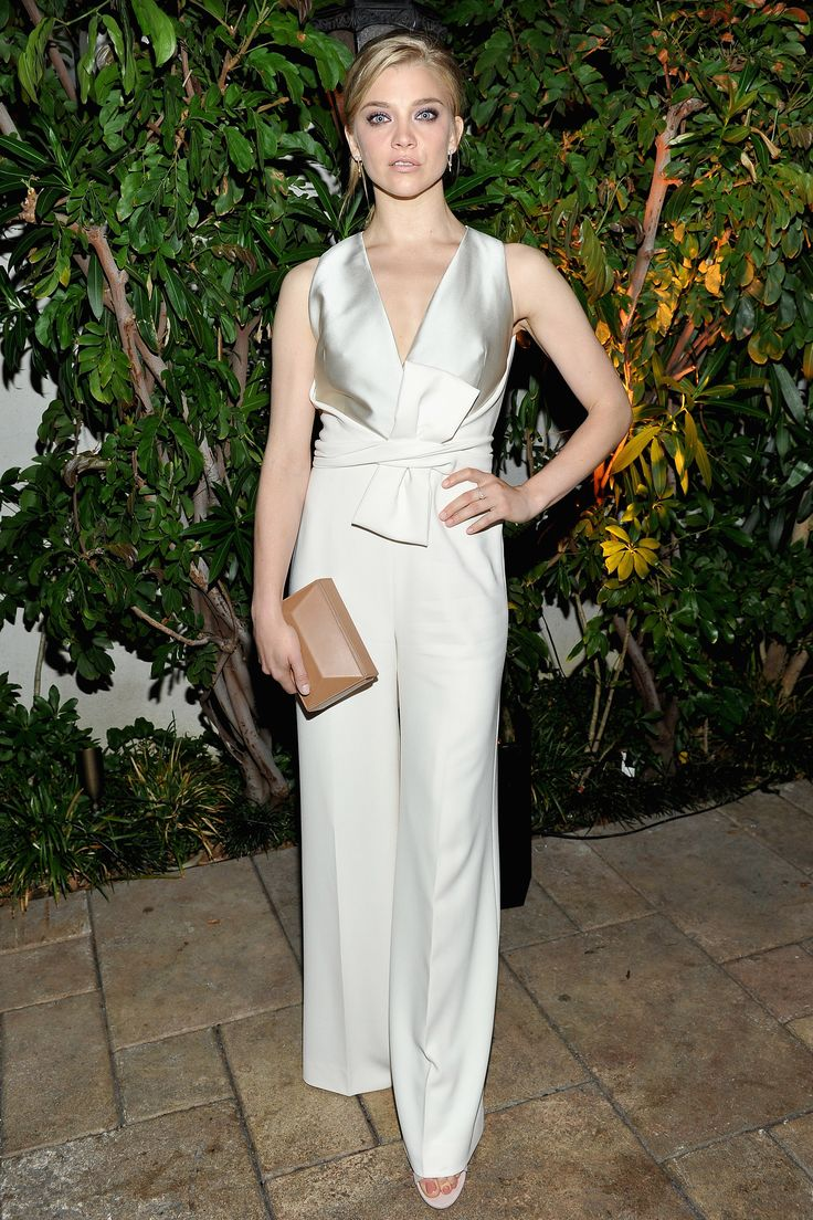 14 June For a Max Mara dinner in celebration of Natalie Dormer, the actress wore a wide-legged cream jumpsuit with silk detail.   - HarpersBAZAAR.co.uk