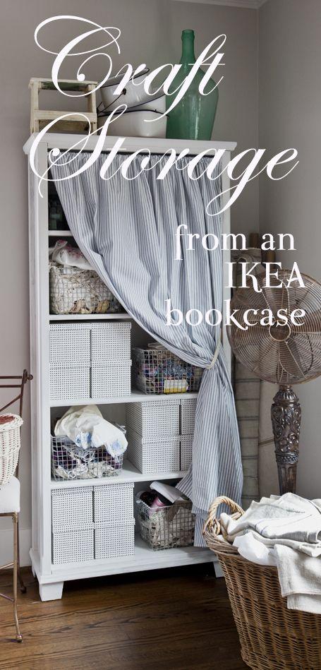 Ikea Bookcase turned Cottage-style Craft Storage www.cedarhillfarmhouse.com