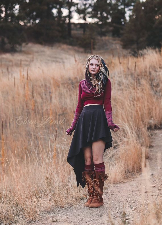 Assymetrical Pixie Skirt ~ Dramatic Angles ~ Elven Forest ~ Gypsy clothing, Bohemian, Festival clothing, Show your Knee socks, Love