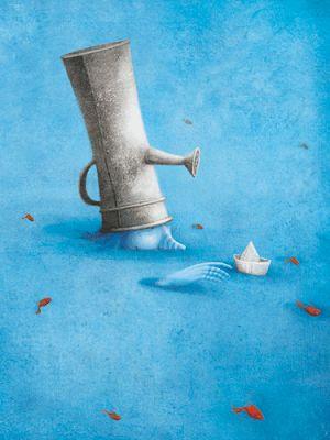 el gato azul prusia: ¿ Cómo pintar el agua?