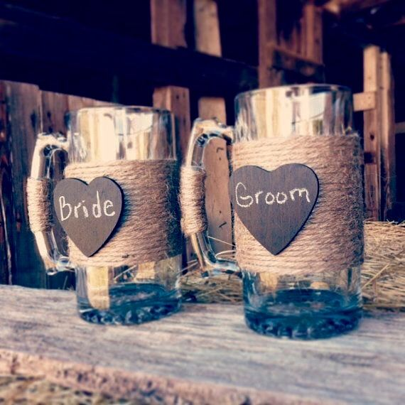 Bridal party rustic mugs! Purchase from www.bliss-bridal-weddings.com Great gift idea!!