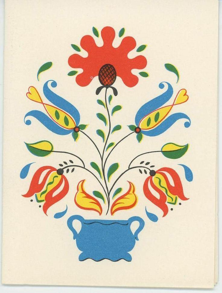 Vintage Pennsylvania dutch tulip flower motif.
