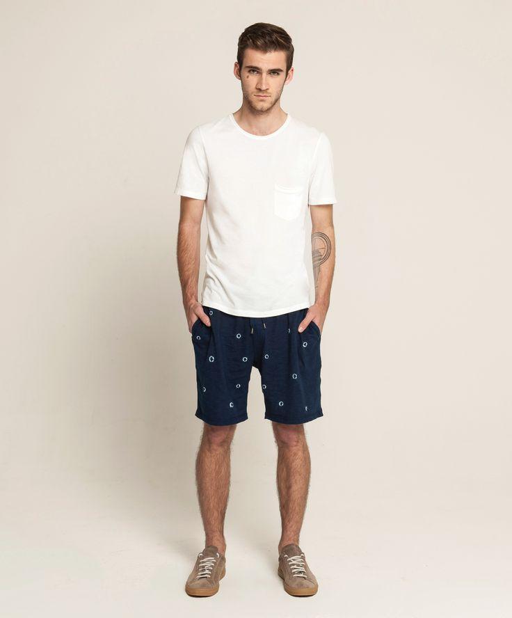 Light Weight Pocket T - White, Hand Dyed Lounge Shorts - Natural Indigo