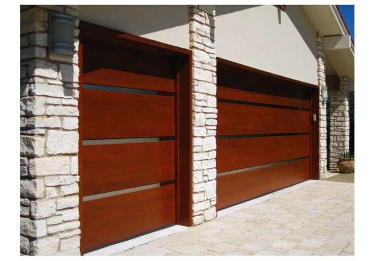 """Want darker color- Contemporary Wood Garage Door with 2"""" Vertical Stainless Steel Inlays - Wood Garage Doors - Garage&Roll Up"""
