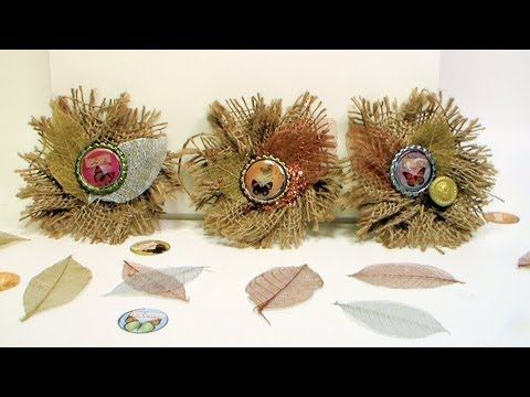 How to Make Burlap Flower Brooches and Barrettes - YouTube