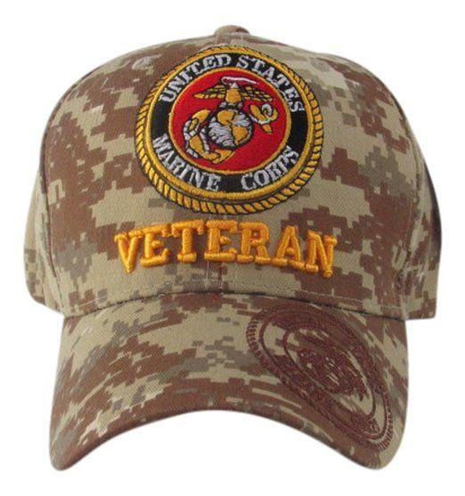 US Marine Corps Veteran Baseball Hat, Desert Camouflage, One Size Fits Most Marines #USMC